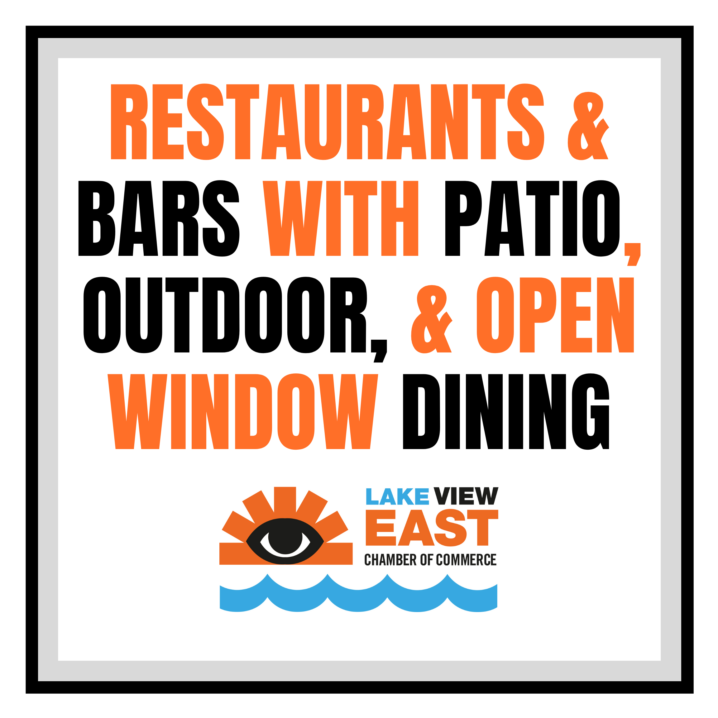 open outdoor patio sidewalk dining windows lake view lakeview east restaurants bars